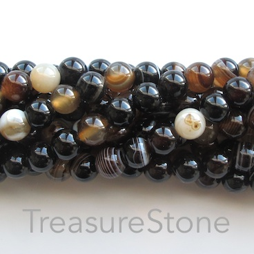 Bead, agate (dyed), black, 8mm round. 15-inch
