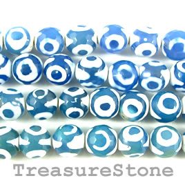 Bead, agate (dyed), blue pattern, 10mm faceted round. 14-inch