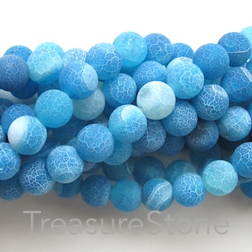 Bead, agate, dyed,blue patterned, 8mm round, matt. 14.5-inch, 47