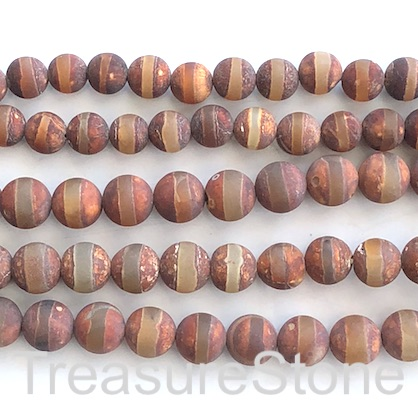 "Bead, agate, brown, clear band, 8mm round, matte. 15"", 47"