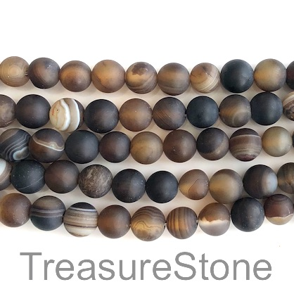 Bead, agate, dyed, brown, grade B, 10mm round, matt. 15-inch, 37