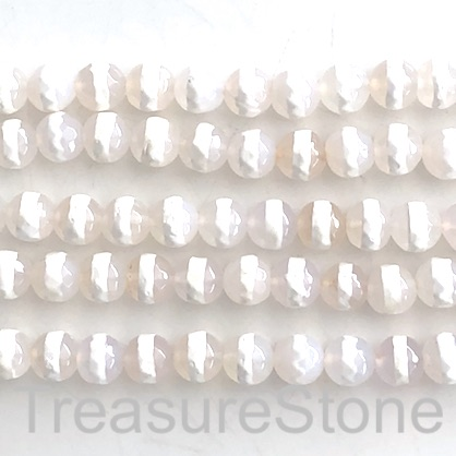 "Bead, agate, clear, white band, 10mm faceted round. 15"", 37"