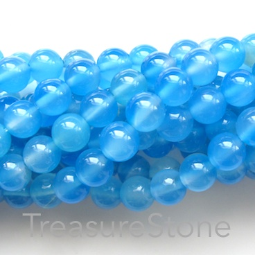 Bead, agate (dyed), blue, 8mm round. 15-inch