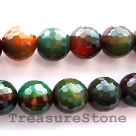 Bead, agate (dyed), 15mm faceted round. 15-inch strand.