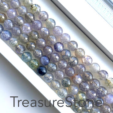 Bead, agate (dyed), 8mm faceted round. 15-inch strand.