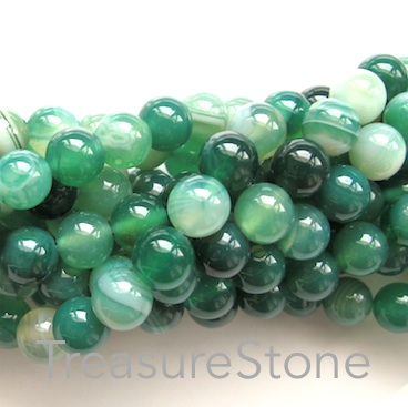 Bead, agate (dyed), green, 8mm round. 15-inch, 45pcs