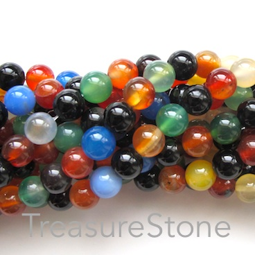 Bead, agate (dyed), mixed colour, grade B, 8mm round. 15-inch,47