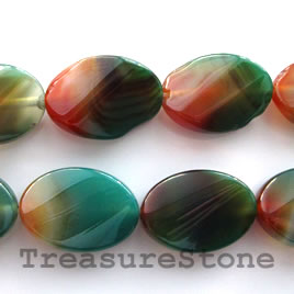 Bead, agate (dyed), 18x25mm twisted oval. 16-inch strand.
