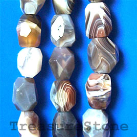 Bead, botswana agate, 14x18mm faceted nugget. 16-inch strand.