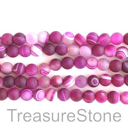 Bead, agate, dyed, fuchsia, 8mm round, matt. 15-inch, 48pcs