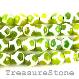 Bead, agate (dyed), green pattern, 10mm faceted round. 14-inch