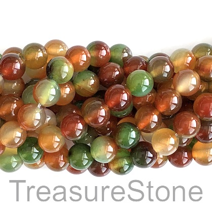 Bead, agate(dyed), multicolored, round, 8mm. 15-inch, 48pcs