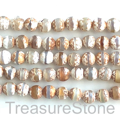 "Bead, agate, light brown, clear band, 10mm faceted round. 15"",37"
