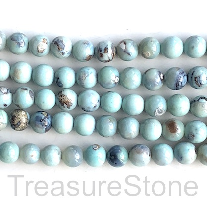 Bead, agate (dyed), light turquoise, 8mm round. 15inch, 46pcs