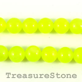 Bead, agate (dyed), lime yellow, 12mm round. 15-inch