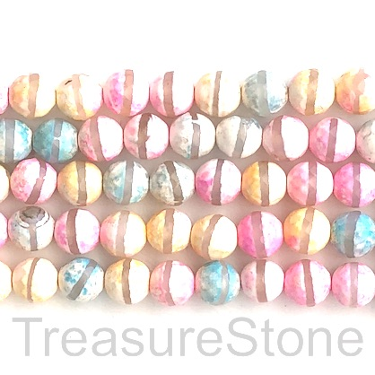 "Bead, agate, mixed, clear band, 8mm faceted round. 15"", 47"