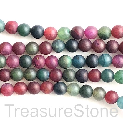 Bead, agate (dyed), mixed color, 8mm round matte. 15.5-inch, 47