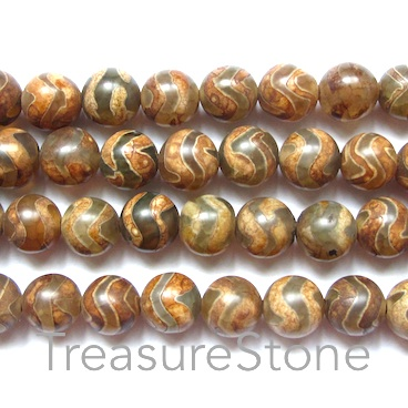 Bead, agate (dyed), pattern 2, 8mm round. 15.5-inch strand.