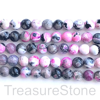 Bead, agate (dyed), pink, white, black, 8mm round. 15-inch,49pcs