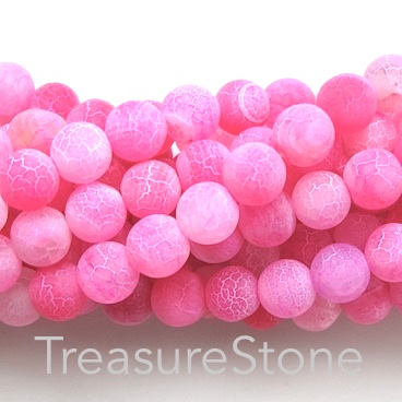 Bead, agate (dyed), pink patterned, 8mm round, matt. 15-inch