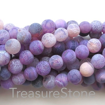 Bead, agate,dyed,purple patterned, 8mm round, matt.14.5-inch,48