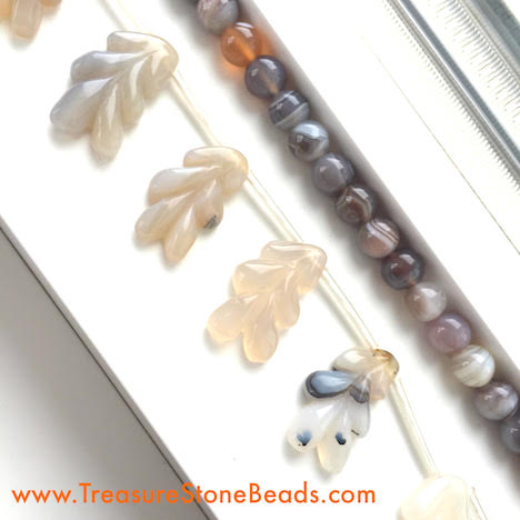 Bead, botswana agate 8mm, agate, carved flower, 14x25mm