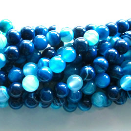 Bead, tilt blue agate(dyed), round, 8mm. 16-inch strand