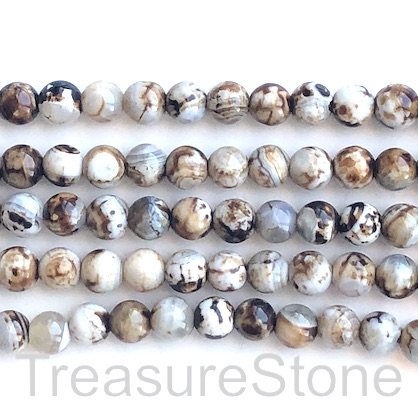 Bead, agate, brown, white, 8mm round. 15.5-inch, 50pcs