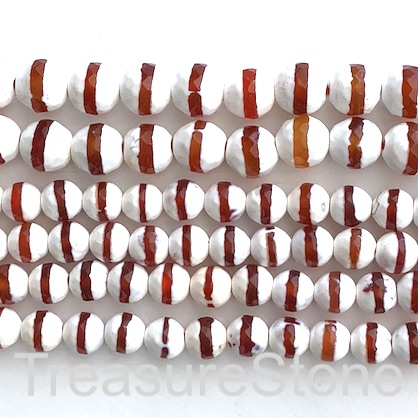 "Bead, agate, white, red band, 8mm faceted round. 15"", 47"