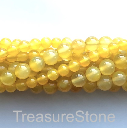 Bead, agate (dyed), yellow, 6mm round. 15-inch, 62pcs