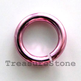 Jumpring, aluminum, pink, 12mm smooth round. Sold per pkg of 50