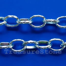 Chain, aluminum, aquamarine, 9x12mm curb - By meter