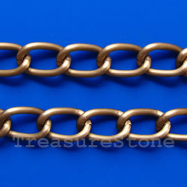 Chain, aluminum, copper, 9x14mm curb - By meter