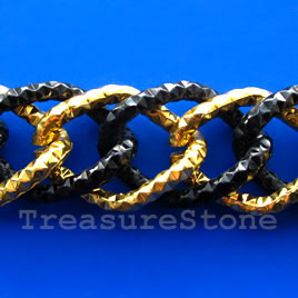 Chain, aluminum, gold-black,24x34mm double curb - By meter