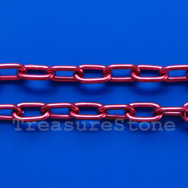 Chain, aluminum, hot pink, 5x8mm curb - By meter