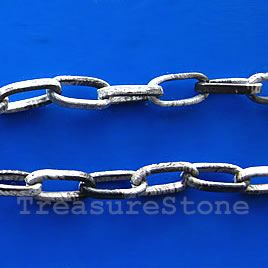 Chain, aluminum, patterned, 5x11mm flat oval - By meter