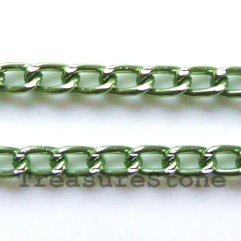 Chain, aluminum, peridot, 3x6mm curb - By meter