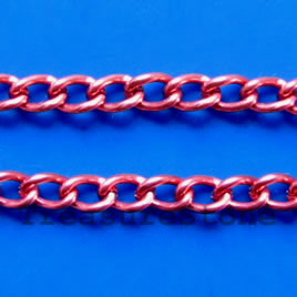 Chain, aluminum, rose, 3x4mm curb - By meter
