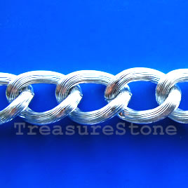 Chain, aluminum, silver,15x22mm curb - By meter