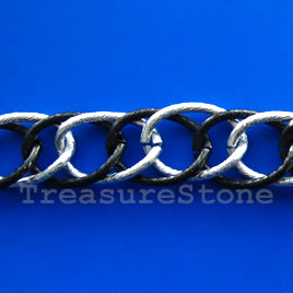 Chain, aluminum, silver-black,15x20mm double curb - By meter