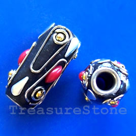Bead, alloy, 11x24mm. Sold individually.