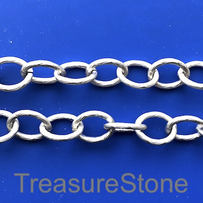 Chain, aluminum, silver, 11x14mm oval - By meter