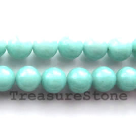 Bead, amazonite, 10mm round. 16-inch strand.