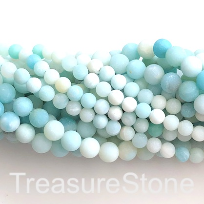 Bead, amazonite, 8mm round, matte, grade B-, 14.5-inch, 46pcs