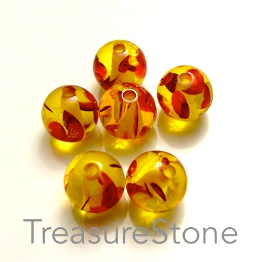 Bead, amber resin, 8mm, pkg of 7 pcs