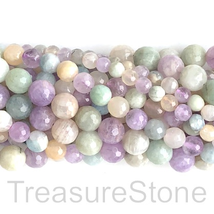 "Bead, amethyst aquamarine moonstone, 8mm faceted round. 15"", 48"