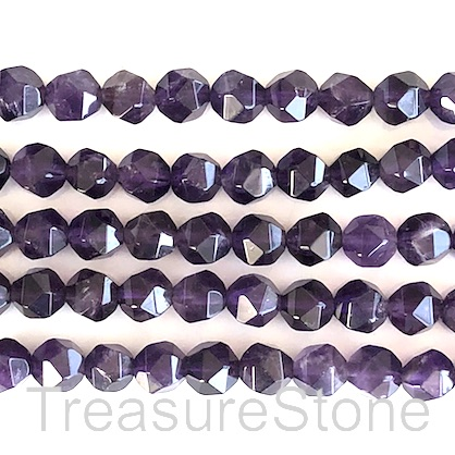 Bead, amethyst, 7x8mm, faceted nugget, star cut, 15.5 inch, 53