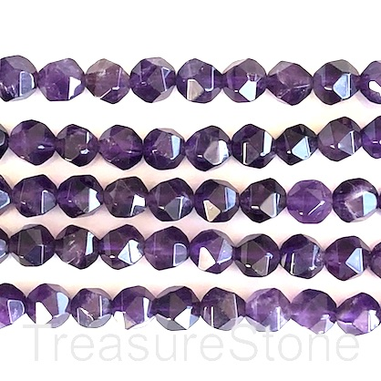 Bead, amethyst, 9mm hand-cut faceted nugget. 16-inch strand.
