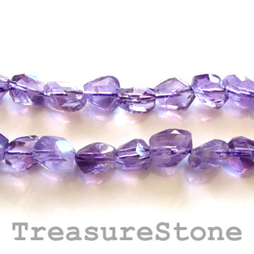 Bead, amethyst, about 10mm hand-cut faceted nugget. 15.5-inch