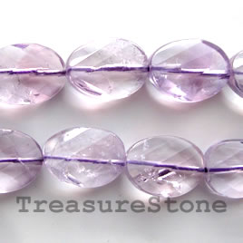 Bead, amethyst, 15x19mm hand-cut faceted oval. 16-inch strand.